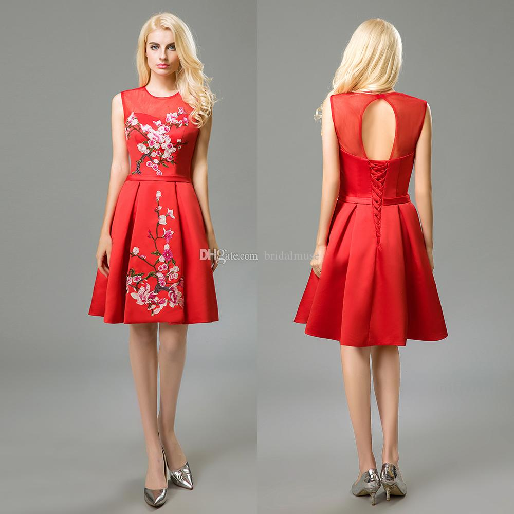 Prom Dresses 2018 Embroidery Red Chinese Style Cocktail Dresses Lace ...