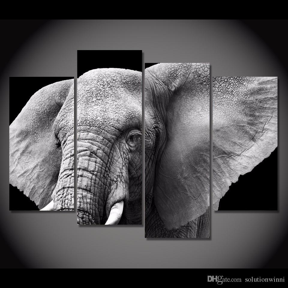 4 pcs HD imprimé Elephant Tusks Tusks Tusks Peinture sur Toile Décoration de la pièce Imprimer Affiche Picture Toile Mur Art Peinture