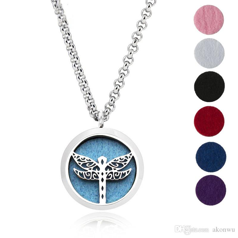 """YB Jewelry 316L Stainless Steel Jewelry, Essential Oil Diffuser Necklace Locket Pendant,with 24"""" Chain and 6 Washable Pads Dragonfly"""