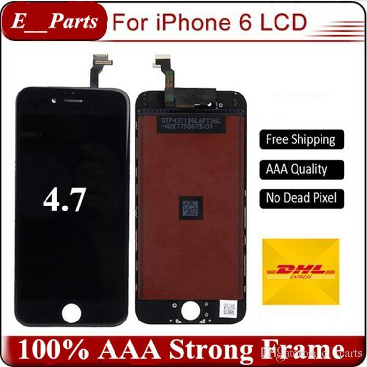 Para iPhone 6 lcd Grado A +++ Pantalla LCD Para iPhone 6 Touch Pantalla digitalizadora completa (TianMa LCD) con marco Reemplazo de ensamblaje completo