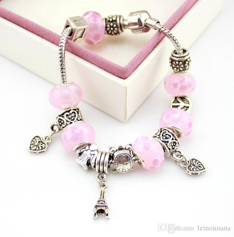 trending jewels Charm Stone Murano Glass Beads Silver Plated