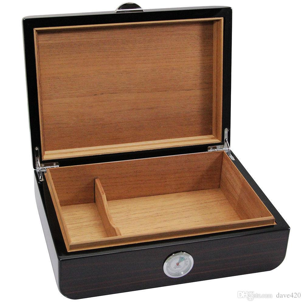 New Arrival Wood Pattern Cedar Lined Piano Finish Cigarette Humidor high-quality with humidifier & hygrometer free shipping