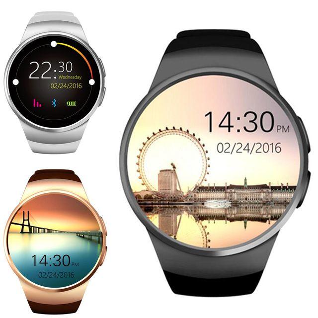 KingWear 1.3 pulgadas ronda Dial Smartwatch teléfono MTK2502 IPS podómetro de la pantalla recordatorio sedentario Bluetooth 4.0 Monitor de ritmo cardíaco Nano Sim coche