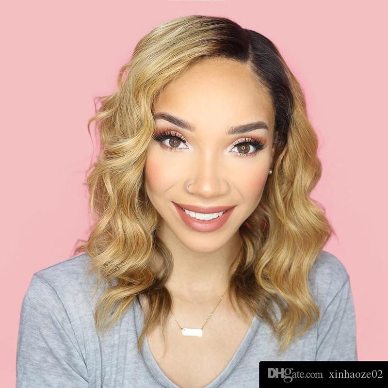 Short Wavy Glueless Ombre Lace Wig Human Hair Virgin Brazilian Body Wave Full Lace Wig Two Tone Lace Front Human Hair Wigs