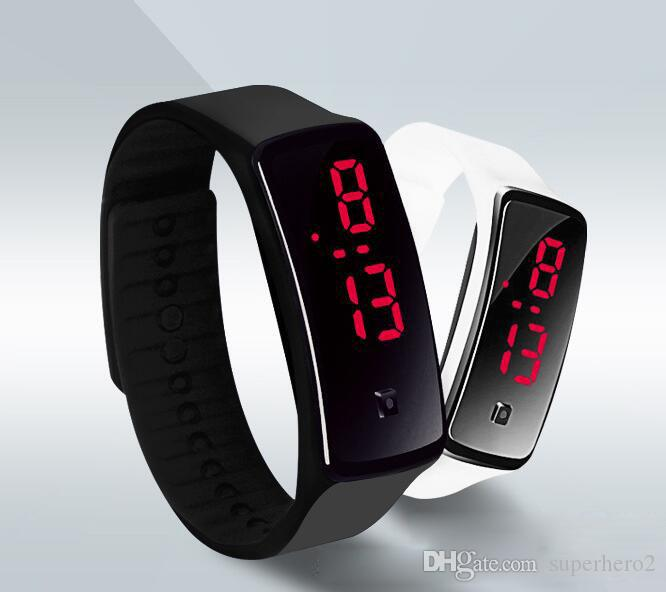 LED Watch Leisure Sports rectangle led Digital Display touch screen watches Rubber belt silicone bracelets Wrist watches