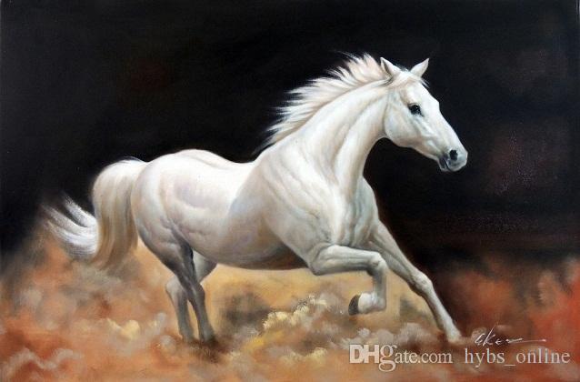 Обрамленная Белая Лошадь Пыльный След Троттинг Портрет, Ручная роспись Современное Абстрактное Животное Стены Искусства Живопись Маслом На Холсте Мульти Размеры Jn84