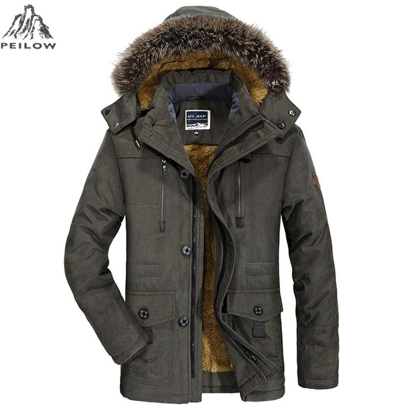PEILOW زائد حجم 5xl 6xl الشتاء سترة الرجال سميكة يندبروف هود سترة رجل السترات والمعاطف واقية معطف jaqueta الغمد