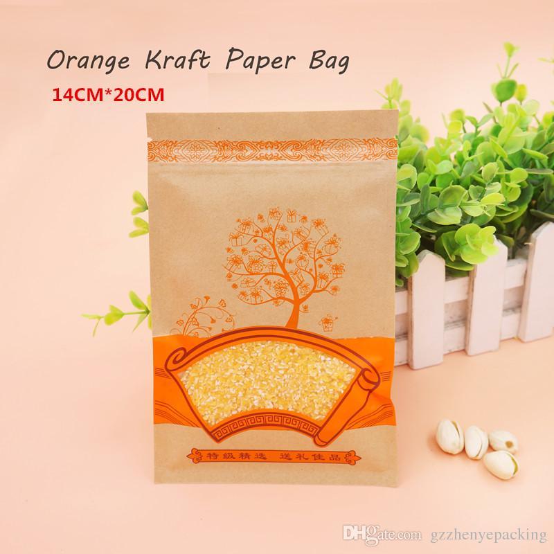 14 * 20cm 오렌지 크래프트 페이퍼 백 셀프 실링 재사용 가능 식품 포장 저장 식품 포장 포장 100 / 패키지