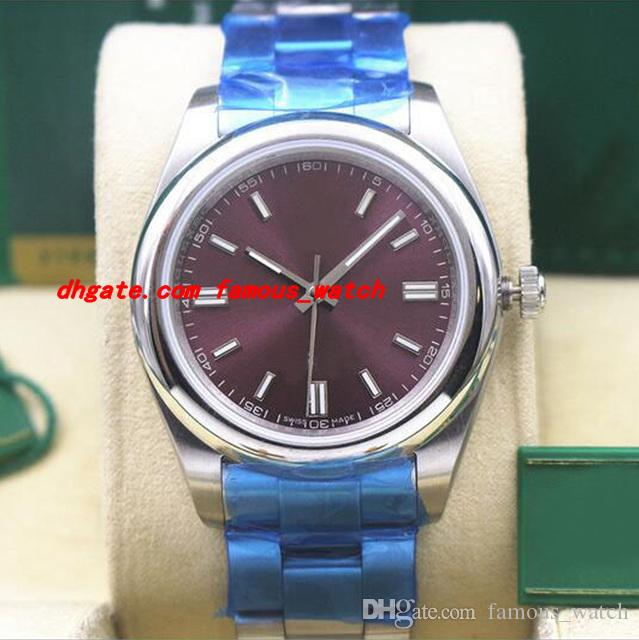 Relógio De Pulso De Luxo NOVO 116000 PUSO Roxo Mostrador 39mm Relógio Mecânico Automático Relógio De Movimento Dos Homens Relógios
