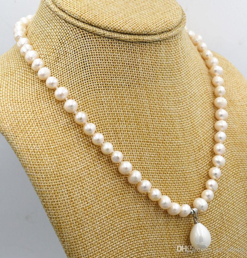 2017 7-8mm Blanc Akoya Perle de Culture 12x16mm Shell Perle Pendentif Collier