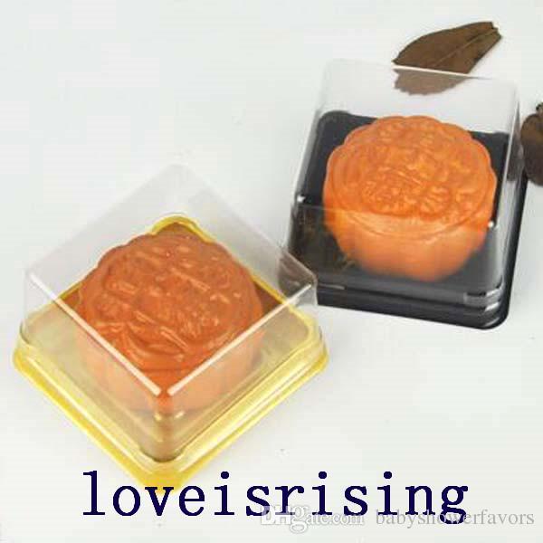 새로운 도착 - 100pcs = 50Sets 6.8 * 6.8 * 4 cm 미니 크기 투명 플라스틱 케이크 상자 머핀 컨테이너 음식 선물 포장 웨딩 용품
