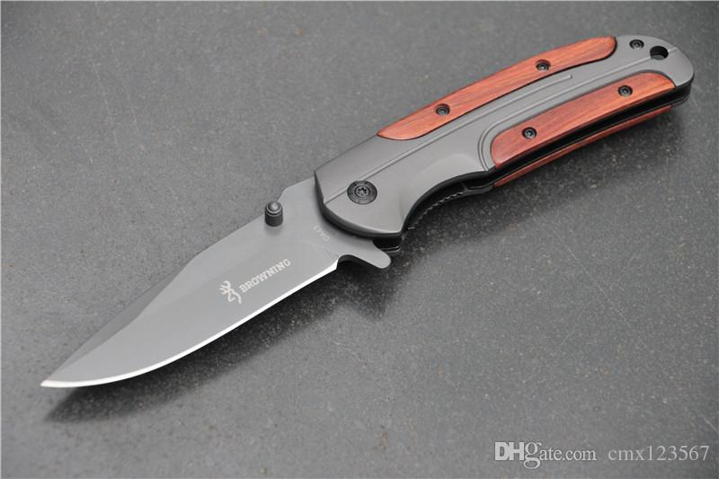 Spedizione gratuita Browning DA43 pieghevole coltello 3 cr13 lama manico in palissandro lavorazione Tattico strumento di campeggio coltello da tasca per aprire rapidamente il sur