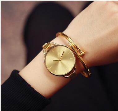 새로운 스타일 한국 스타일 여성 패션 쿼츠 시계 레이디의 황금 메쉬 벨트 쿼츠 스 푸트 시계 소녀 걸 큰 다이얼 손목 시계