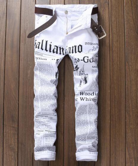 New 2017 Men's casual jeans Retro slim fit Punk Rock DS DJ Newspaper printed pattern biker denim pants Hairstylist beggar pants