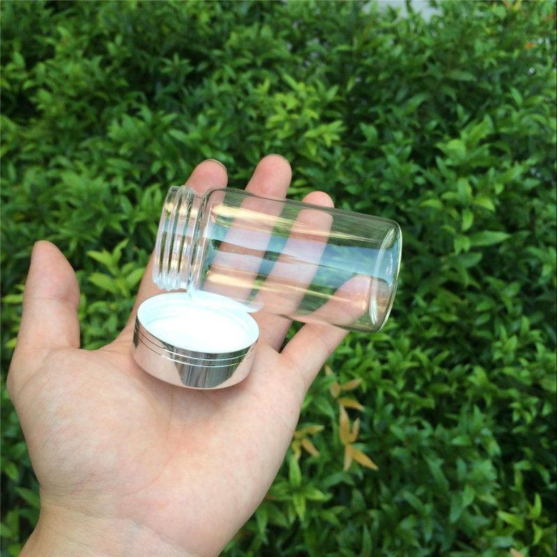 Cute Glass Bottles Silver Screw Cap Glass Crafts Transparent Bottles For Sand Candy Gift Jars Decorates