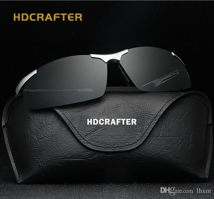 HDCRAFTER nuovi occhiali da sole polarizzati da uomo senza telaio in alluminio e in magnesio sportivo da guida con occhiali da equitazione E300 con scatola di occhiali