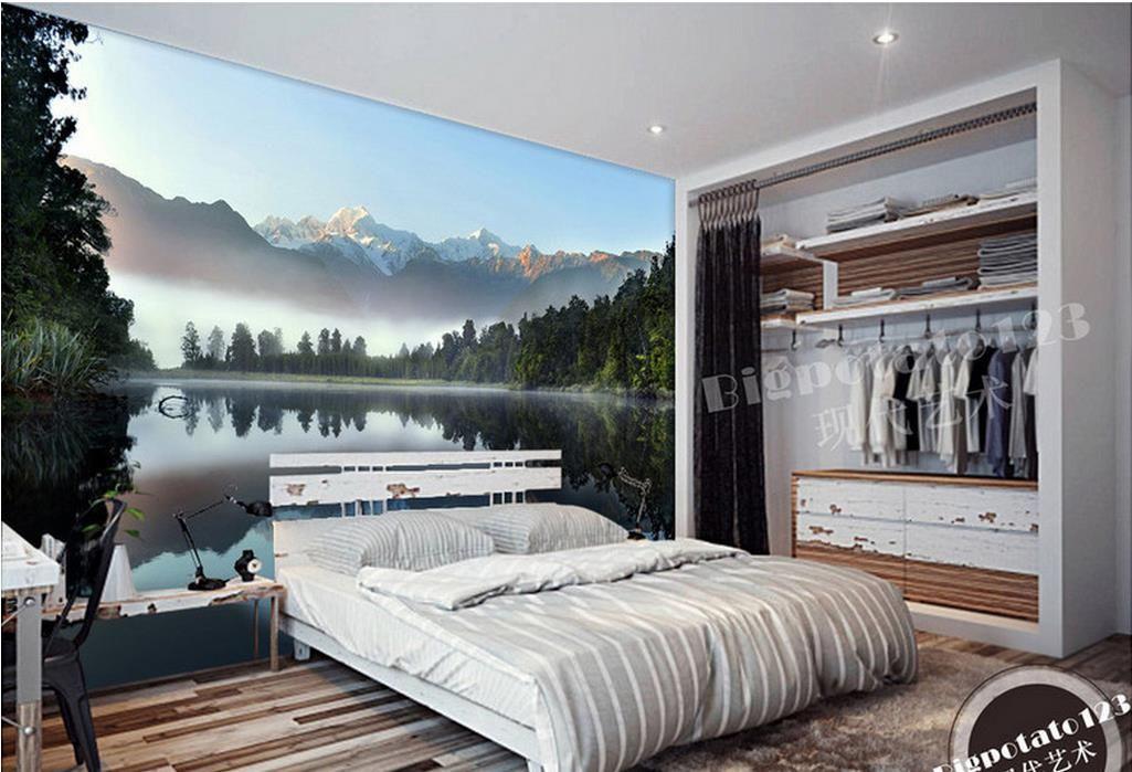 Frewallpapers для кровати комнаты Sh Sky Snow Mountain Lake Forest Шилин отражение пейзаж фотография