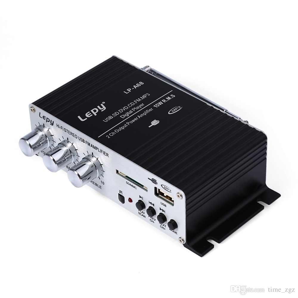 DHL 10PCS Auto Lepy LP - A68 tragbare 12V HiFi Verstärker Audio Unterstützung Kompatibel mit SD USB Unterstützung RCA Player Stereo