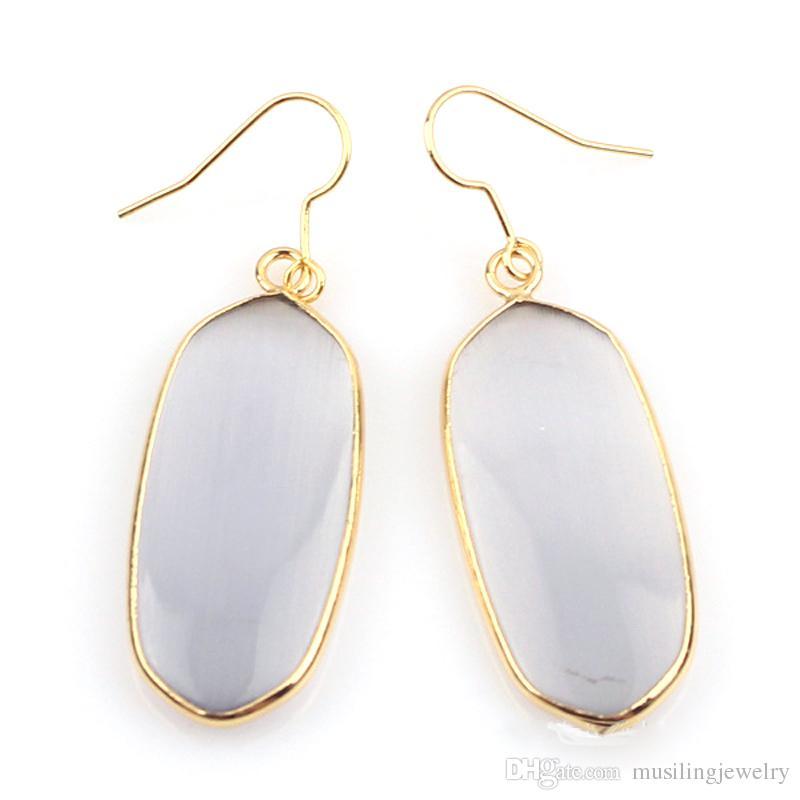 الأقراط الطويلة انخفاض 18 كيلو الذهب مطلي الأقراط الحجر الطبيعي سحر الأقراط الأزياء والمجوهرات للنساء مجوهرات musiling