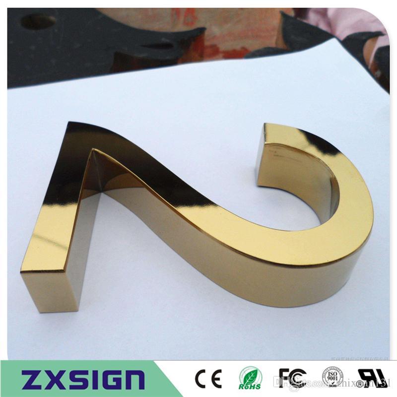 Factory Outlet Outdoor 3D Edelstahl Brief mit Beschichtung titanuim, Spiegel poliert / gebürstetem Edelstahl Zeichen in goldener Farbe