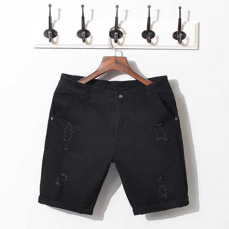Wholesale- Brand Summer Black White Men Jeans Shorts Cotton Ripped Denim Short Pants Quality Solid Slim Fashion Style Bermuda Shorts Male