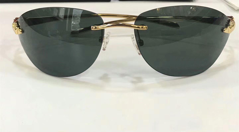 Avec boîte d'or Lenes Shades Vertes Femmes Sunglass Sunglasses Sunglasses Hommes Fashion Hear Sans Rimless Cpolh