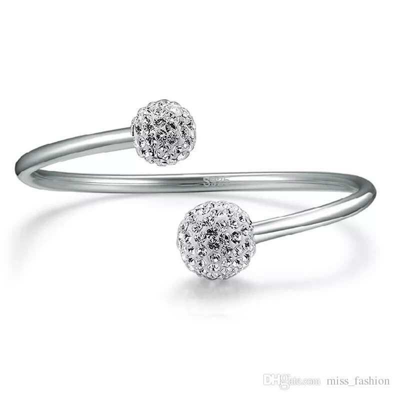 925 pulseiras de prata esterlina itens de cristal Shambhala pulseiras de casamento do vintage do projeto aberto infinito mulher encantos