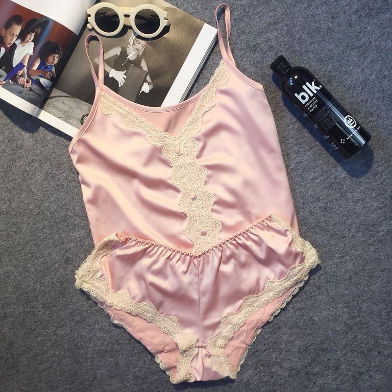 Gran marca de lujo de satén de imitación mujeres pijama corto conjunto sexy pijamas de encaje traje de seda delgada delgada ropa de noche de ropa de noche