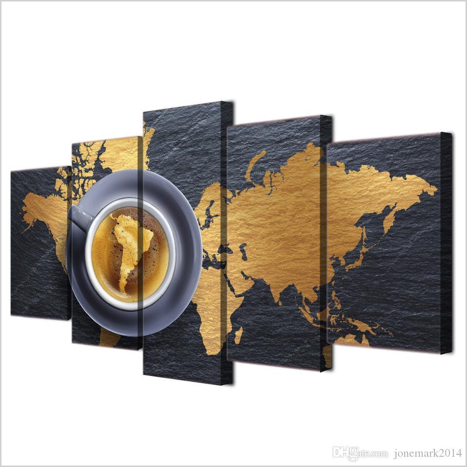 5 PC / Set Gerahmte HD Printed Coffee World Map Modern Home-Wand-Dekor Poster Kunst auf Leinwand Malerei Wandbilder