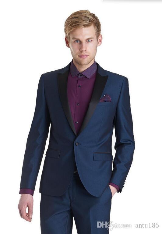 Yeni moda erkek takım elbise lacivert düğün takım elbise slim fit mens bir düğme damat takım elbise (Ceket + Pantolon)