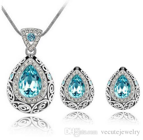 Top Quality Luxury Vintage Design Silver Plated Colorful Swarovski Crystal stone Necklace Earrings jewelry Set for Women Wedding Jewelry