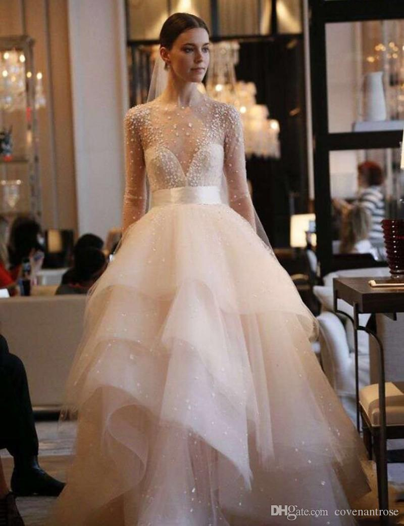 Light blush wedding dresses 2017 tiered see through top long light blush wedding dresses 2017 tiered see through top long sleeve beads tulle pearls bridal gowns junglespirit Images