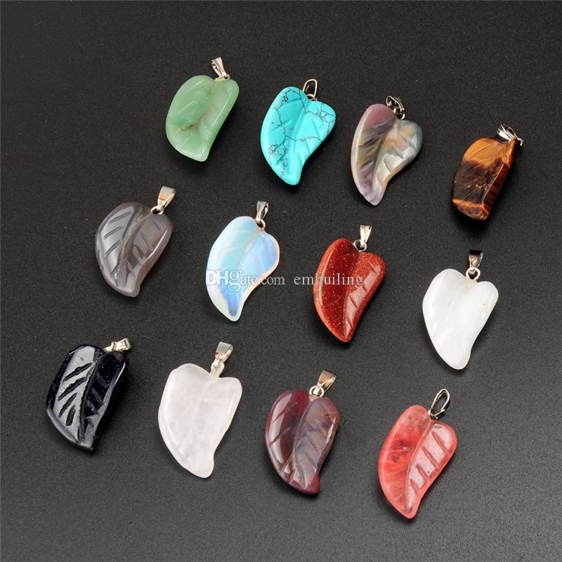 Wholesale Mix Genuine Stone Beads Agate Carving Leaf Leaves Shape Natural Stone Graduated Pendant Charms Perfectly Fit For Bracelet Earrings