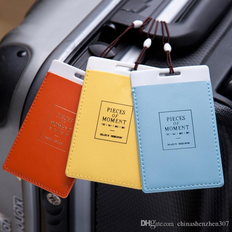 PU Leather Luggage Tags Label Suitcase Tags Travel Bag Labels