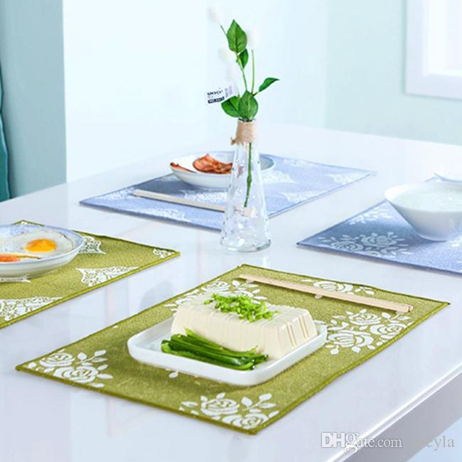 4 Pcs/lot New Fashion Cotton Fabric Dining Table Placemat Europe Style Kitchen Tool Tableware Pad Coaster Coffee Tea Place Mat