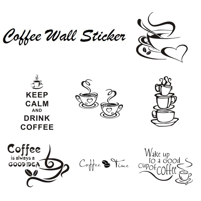 Coffee Cup With Heart Vinyl Quote Restaurant Kitchen Removable Wall Stickers DIY Home Decor Wall Art Mural Free Shipping