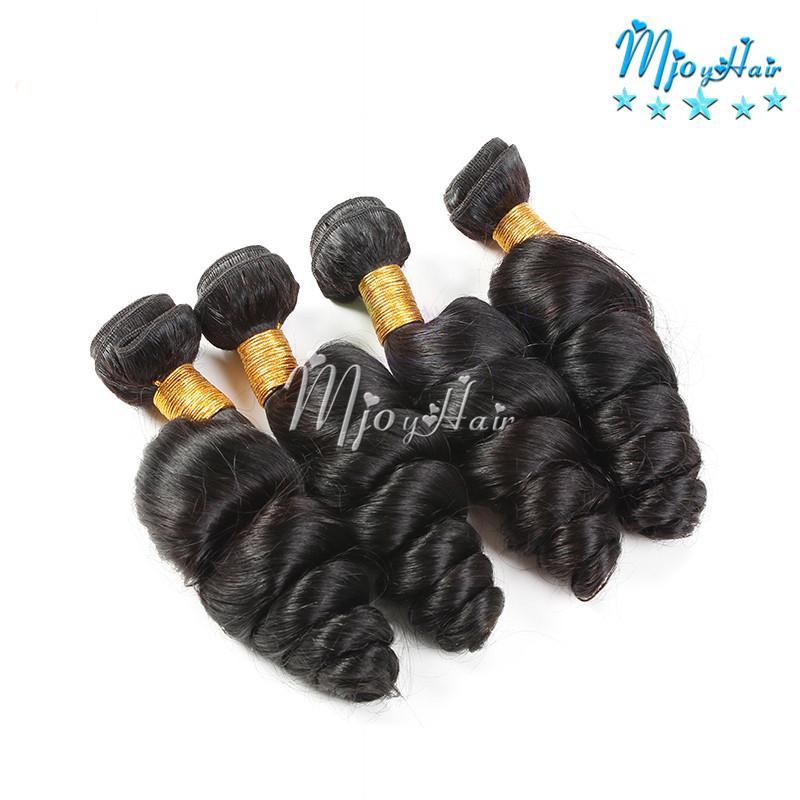 Перуанская свободная волна девственницы 4 шт. / Лот человеческих волос AAAAAAA + свободная волна переплетения волос утка окрашиваемые норки волнистые пучки волос