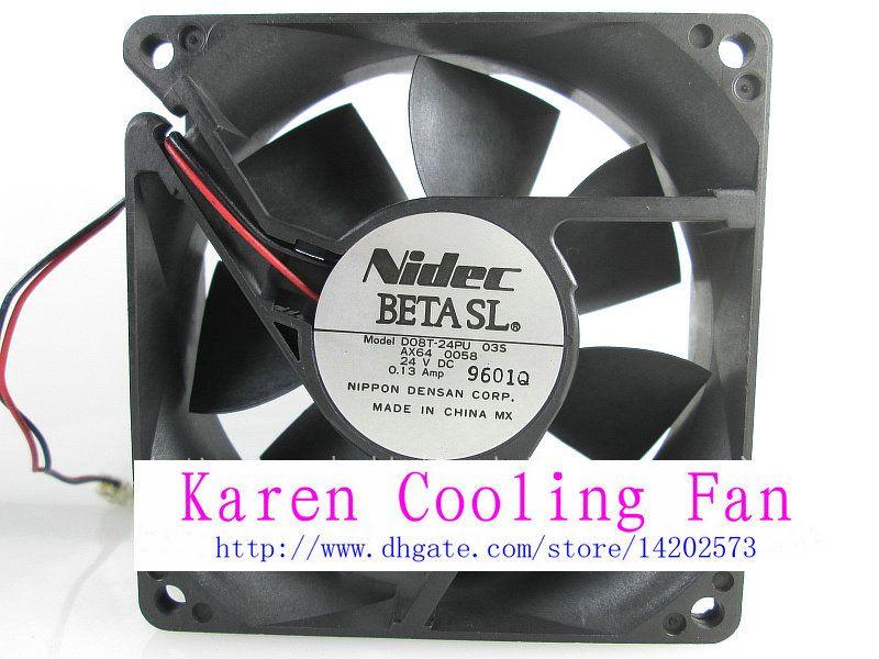 Original NIDEC 24 V 0.13A D08T-24PU 035 AX64 80 * 80 * 25 MM inversor ventilador de refrigeração