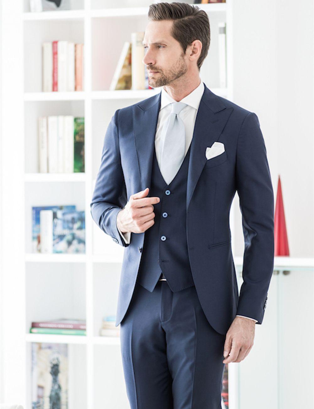 Navy Blue 2018 New Design Groom Wear Slim Fit Wedding Tuxedos ...