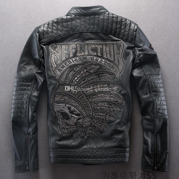 3c9cf3c3b 2019 American Customs Affliction Genuine Leather Jackets India Skull Head  Embroidery Sportswear Motorcycle Leather Jackets From Qltrade_3, $304.57 |  ...