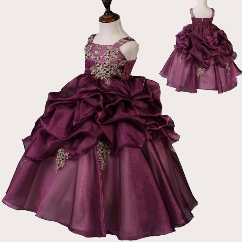 Ball Gown Ruffle Lace Custom Cute Little Flower Girl Dress Floor Length Hand Made Flowers Bows Kids Prom Birthday Dress 01