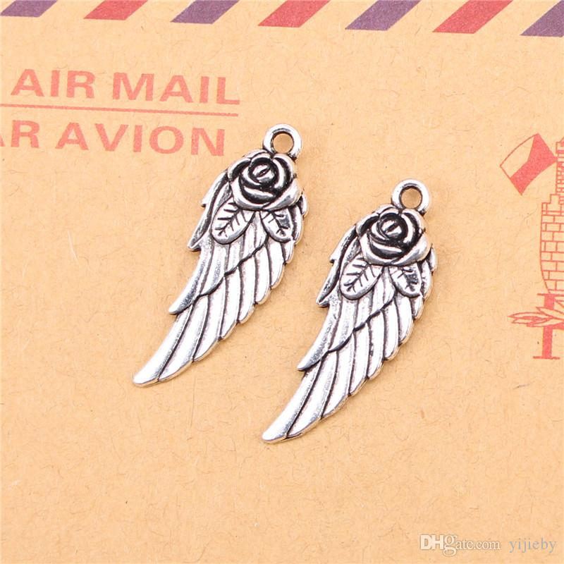 58pcs Tibetan Silver Plated angel wings flower Charms Pendants for Jewelry Making DIY Handmade Craft 30*12mm