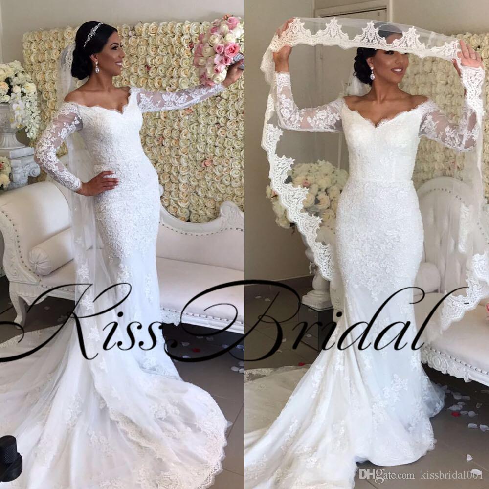 Свадебные платья Русалка с длинными кружевами с длинным рукавом и V-образным вырезом с плеча с застежкой-молнией и шлейфом с реальным изображением Свадебные платья