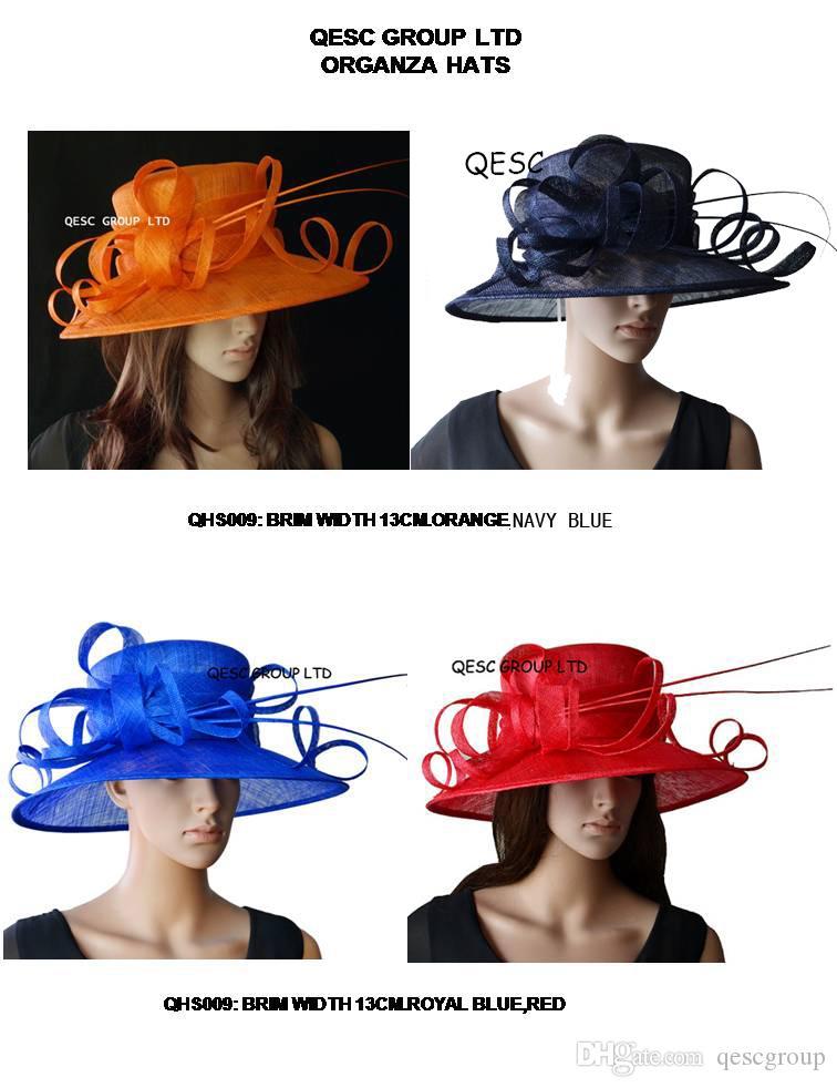 2020 sinamay Cappelli Chiesa largo del bordo di nozze Kentucky Derby razze blu party.royal, arancio, blu navy, rosso. SPEDIZIONE GRATUITA