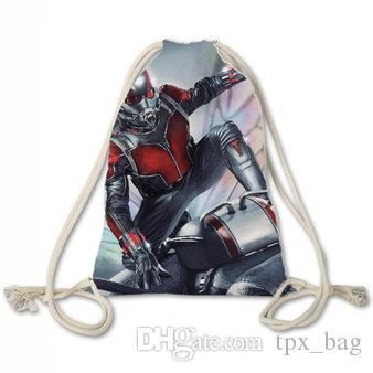 Ant man backpack Cool printing drawstring bag Super hero daypack Film fans rucksack Sport string rope pocket Outdoor day pack