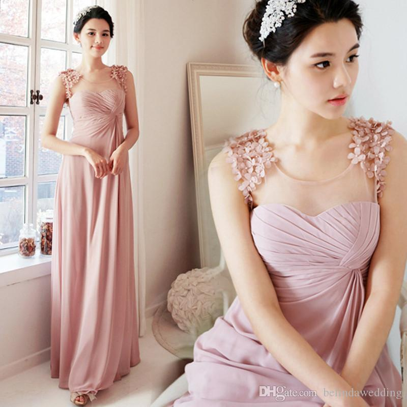 Country Bush Pink Long Chiffon Bridesmaid Dresses Modest Gown Bride Dress Bridesmaids Sister Maid of Honor for Women Wedding Long Party