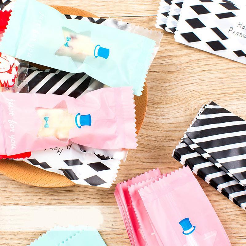 Multi Cor De Plástico Sacos de Nougat Envoltórios de Doces De Amendoim Doces Envoltura Embrulho De Padaria Embalagem De Decoração 95 * 40mm 200 pcs