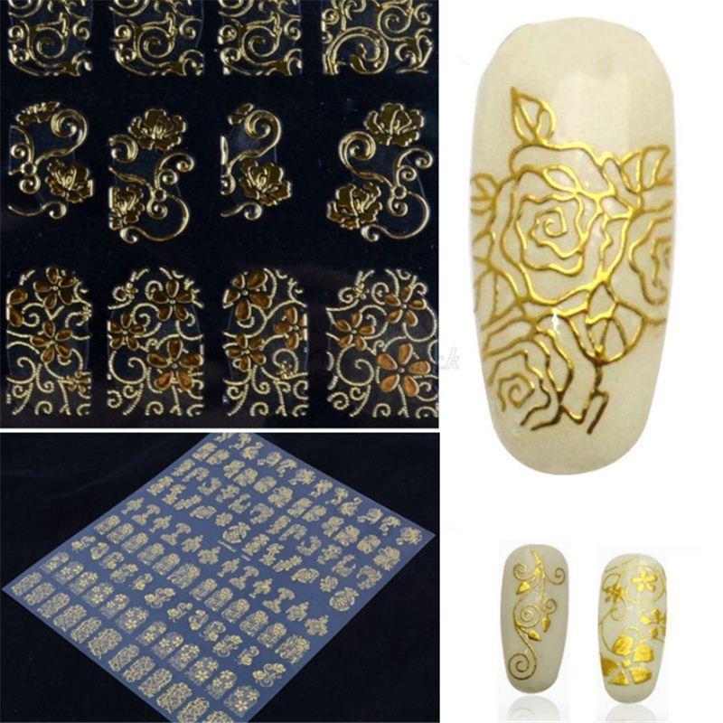 108pcs/set 3D Gold Nail Art Stickers Nails Foil Flower Decals, Metallic Nail Art Decoration Tools Manicure Nail Decals