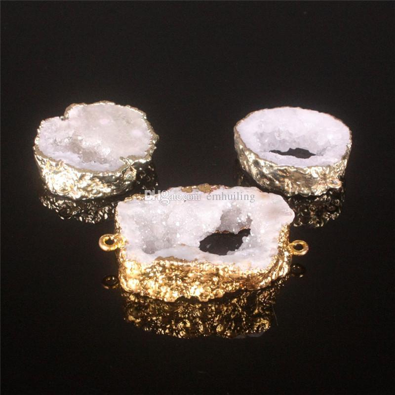 2019 HOT ! Nature Agate Freeform Pendant White Raw Geode Druzy Random Size Connector Irreguar Shape Double Hoop Drusy Bead Charm Jewelry
