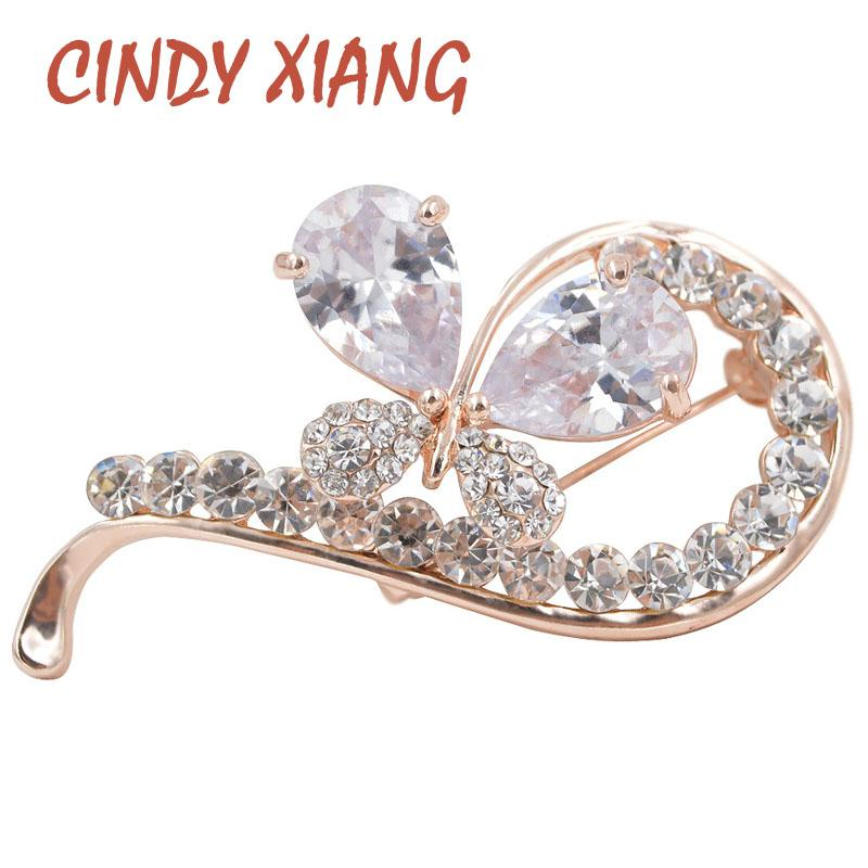 CINDY XIANG New Fashion Big Zircon Bowknot Brooches for Women Bijouterie Wedding Dress Brooch Luxury Corsage High Quality Gift